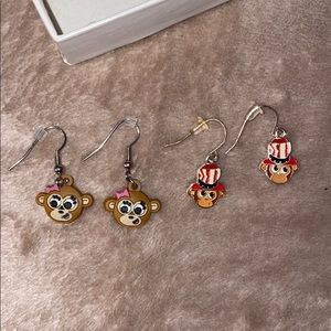 Justice monkey dangling earring set (bought a set)